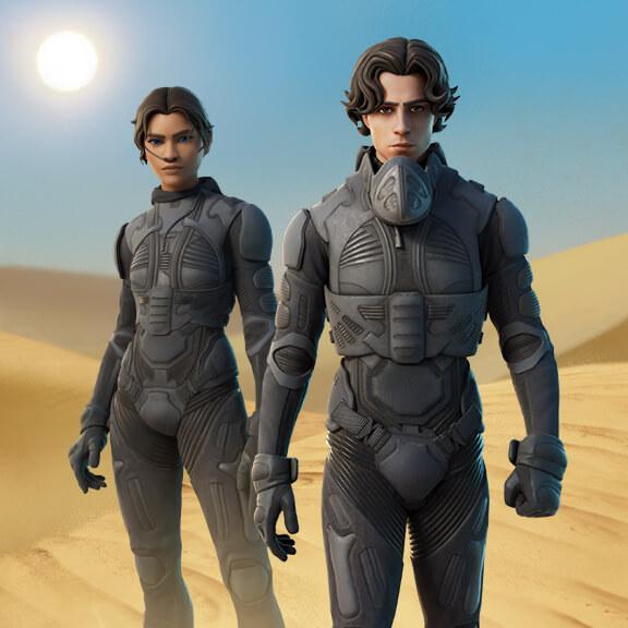 Paul Atreides i Chani podróżują z Planet Dune do sklepu z przedmiotami w Fortnite